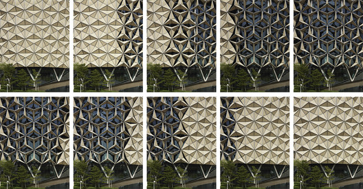 Mashrabiya' facade at Al Bahr Towers, Abu Dhabi, UAE. Architecture: Aedas UK. Image © Christian Richters