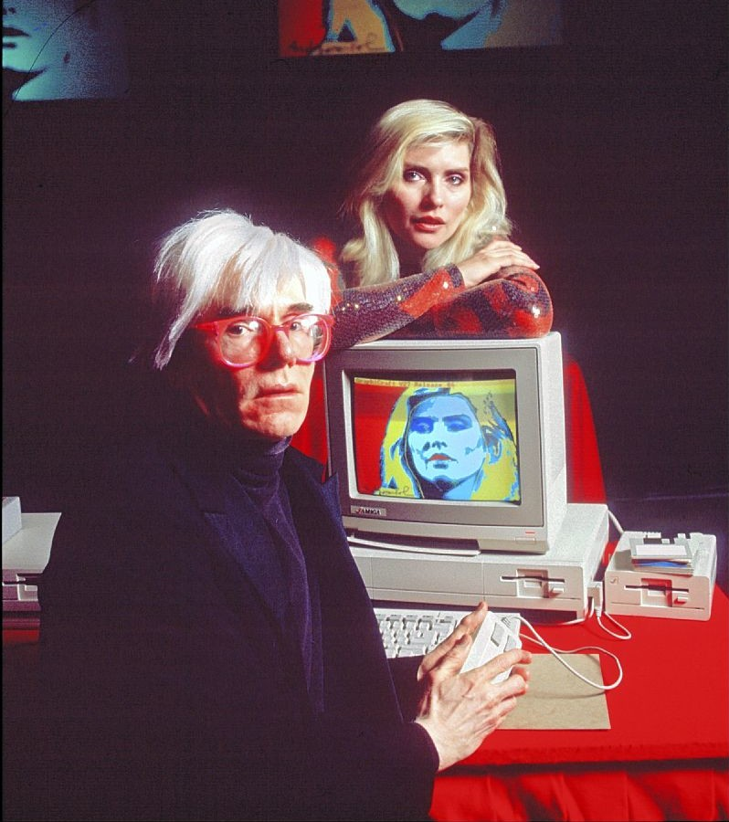 Andy Warhol with Debbie Harry at the 1985 Amiga Launch at Lincoln Center